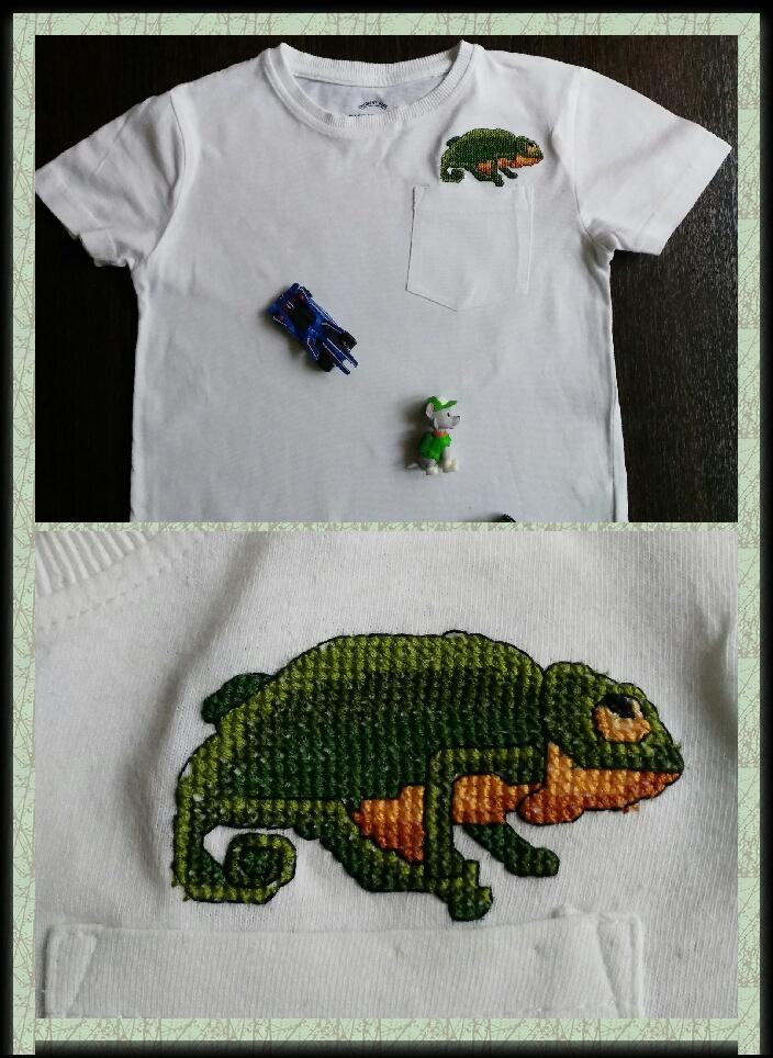 """Вышивка """"Хамелеончик"""" на детской футболке"""